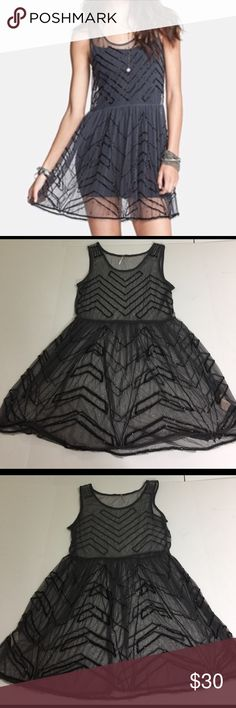 Free People Sheer Beaded Tunic Dress, size L Free People Sheer Beaded Tunic Dress in size large. Flat lay measure from shoulder to hem is 33, and from armpit to armpit is 18.5. Features a sheer charcoal gray mesh fabric embellished with black beads. Made from 100% nylon exclusive of the beads. Pair this with a cami and black leggings for an amazing look! In excellent condition, please ask if you have any questions. Free People Dresses