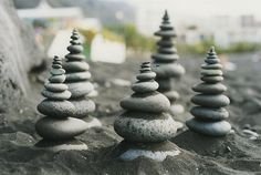 mini cairns by Lenny and Meriel