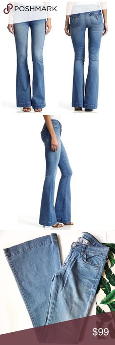 ➡Hudson Signature Flap Pocket Flare Jeans⬅ Whiskering and strategic fading distinguish the medium-blue wash of jeans designed with a trend-right flare-leg silhouette. Triangle-flap pockets brand the back for a signature finish. Zip fly with button closure. Five-pocket style. Cotton/elastane; machine wash. Hudson Jeans Jeans Flare & Wide Leg