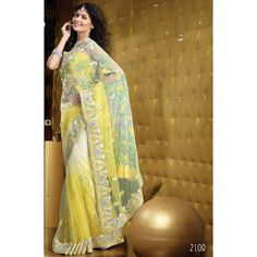 Yellow & Green Net Handwork Designer Saree
