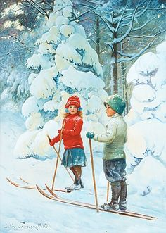 JENNY NYSTRÖM, Skiing children. Signed Jenny Nyström and dated 1910. Watercolour and gouache