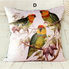 Bird throw pillow Hand painted style couch cushions 18 inch