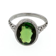 Art Deco Green Tourmaline Filigree Platinum Ring. Art Deco early 1900's filigree side gallery handmade ring with a well-polished bright and sparkly green Tourmaline ring.