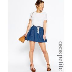 ASOS PETITE Denim High Waist Flippy Skirt in Mid-Wash Blue (22 AUD) ❤ liked on Polyvore featuring skirts, blue, petite, high-waist skirt, white knee length skirt, white skirt, knee length denim skirt and denim skirt