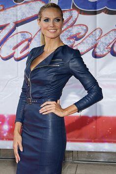 Heidi Klum dons a dark blue Biker Style Leather Dress