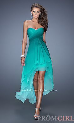 Strapless Ombre High Low Dress by La Femme at PromGirl.com