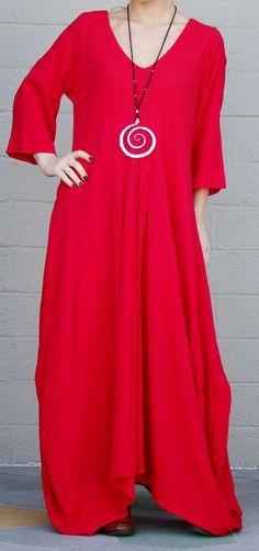 OH MY GAUZE Cotton Lagenlook  BELLA  Long Balloon Dress OSFM (M/L/XL/1X) CRIMSON #OHMYGAUZE