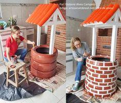 Poço de Pneu Passo a Passo – Como Fazer! Tire Garden, Garden Junk, Garden Yard Ideas, Diy Garden Projects, Garden Crafts, Garden Art, Garden Design, Tire Craft, Preschool Garden