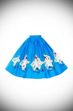 Mary Blair plane print skirt from Pinup Girl Clothing