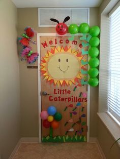 36 Ideas For Door Decorations Classroom Welcome Preschool - - Kindergarten Classroom Door, Infant Classroom, Classroom Themes, Infant Room Daycare, Seasonal Classrooms, Preschool Bulletin, Preschool Welcome Door, Classroom Welcome, Hungry Caterpillar Classroom