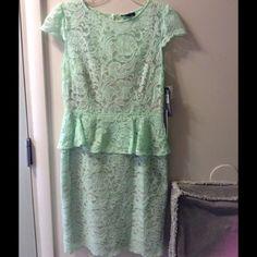 Reduced TAHARI woman's peplum lined lace dress TAHARI woman's dress  mint green lace with beige lining  size12  New with tags  Retails $149.0 Tahari Dresses Midi