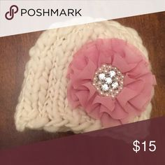 Newborn hat with detachable flower clip Perfect for newborn photo prop! Cream colored knitted hat is so soft for your newborn. Beautiful pink color with pearl and diamond detail. Excellent condition. Baby wore once in photo shoot. Accessories Hats