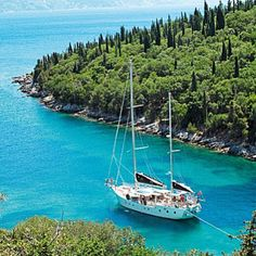British buccaneer David Sidwell sails the Mediterranean in his boat Calypso. His favourite spot? 'On #Limnos, there's a reggae bar in a boat beached up in the dunes. But the bluest water is on the dramatic western side of #Paxos, accessible only by boat. You can clearly see the anchor in 40 metres of water' | #Greece #Greekislands #summerholidays #blue
