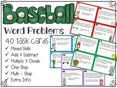 Baseball themed task cards. Single step and multi-step problems. Add, subtract, multiply, and divide