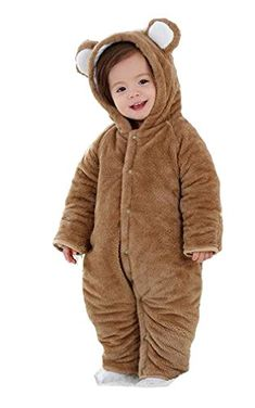 Mikistory Newborn Unisex Baby Animal Romper Jumpsuit One Piece Outfit Snowsuit for Months Month without footies, Brown Bear) Fluffy Animals, Baby Animals, Snow Wear, One Piece Outfit, Snow Suit, Unisex Baby, Brown Bear, Baby Boy Outfits, Rompers