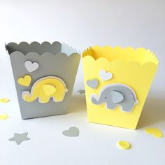Excited to share the latest addition to my #etsy shop: Gray Yellow Popcorn Candy Favor Boxes Elephant Baby Shower Decor Boy Girl 1 st Birthday Party Candy Buffet Table Dessert Bar Supply