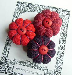 ♥ NOUCHKA ♥ Broche bohème 3 fleurs potirons