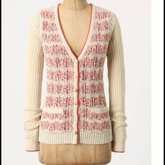 """{Anthro} Not Your Boyfriends cardigan by Sparrow Super cute {Anthropologie} Not Your Boyfriends cardigan sweater by Sparrow. Cream color with red detail. Gold toned buttons. V neck. 2 front pockets. Open weave. 53 cotton 31 linen 16 viscose. Laying flat approx 24.5"""" shoulder to hem, approx 15.5 pit to pit. Size S. Excellent condition.  #51 Anthropologie Sweaters Cardigans"""