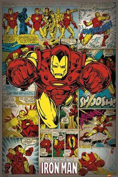 MARVEL COMICS - iron man retro pósters / láminas  - Compra en Europosters