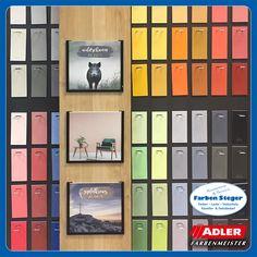 Die 120 handverlesenen Farbtöne wurden vom ADLER-Designteam gemeinsam mit der Farbdesignerin Daniela Späth entwickelt. Die ADLER-Produktion verwendet für die Erzeugung nur hochwertigste Materialien und Farbpigmente.  Kommt bei uns vorbei und schnappt euch eure Lieblingsfarbe vom neu eingetroffenen Musterfarbständer.  #adler #alpineselection #naturfarben #trendfarben #wohnraumdesign #farbdesign #kauflokal #farbensteger #shopping #josalzburg Design, Natural Colors, Eagle
