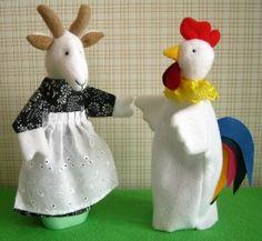 игрушки на руку: коза и петух