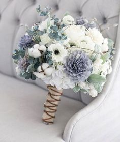 Wedding Bouquets Our grey, navy and cream bouquet is a rustic beauty. This stunning bouquet has a great combination of flowers that work seamlessly with each other. With a mix of silk and wooden flowers this bouquet w Floral Wedding, Wedding Colors, Trendy Wedding, Dusky Blue Wedding, Wedding Peach, Bouquet Bride, Bouquet Wedding, Rustic Bouquet, Winter Wedding Bouquets