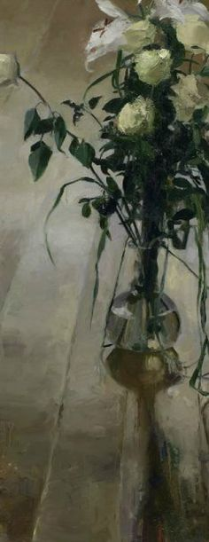 Lucy Cavendish Vase of Lilies and Roses Oil on Canvas 40 x 16 inches