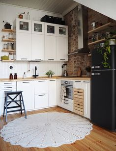 Our rustic scandinavian home with a brickwall from 1890's   #oldstable #rustic #interior #brickwall #scandinavian #kitchen #home #decor