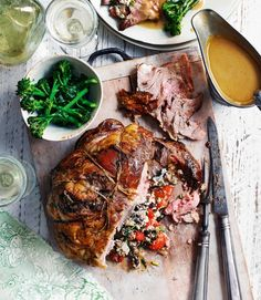 Lamb shoulder stuffed with tomatoes, goat's cheese and basil - delicious. magazine