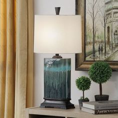 Copper Grove Boucherville Ceramic Table Lamp - Overstock - 11655340 Fabric Shades, Lamp Shades, Gold Couch, Teal Lamp, Ceiling Fan, Ceiling Lights, Lamp Shade Store, Southwestern Decorating, Ceramic Table Lamps