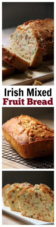 Irish Mixed Fruits Tea Bread - amazing afternoon tea bread recipe loaded with mixed fruits, (try just apricots and cranberries) Bread Cake, Dessert Bread, Cake Recipes, Dessert Recipes, Bread Recipes, Biscuit Bread, Fruit Bread, Mixed Fruit, Irish Recipes