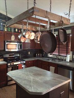 What Does Pot Rack Mean - Pecansthomedecor White Kitchen Cabinets, Kitchen Redo, New Kitchen, Kitchen Remodel, Kitchen Design, Pizza Kitchen, Pot Hanger Kitchen, Hanging Pots Kitchen, Pan Hanger