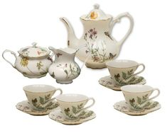 Gracie China Butterfly 11-Piece Porcelain Tea Set, 4-Cup Teapot Sugar Creamer and Four 6-Ounce Cups and Saucers Gracie China by Coastline Imports,http://www.amazon.com/dp/B004J34W62/ref=cm_sw_r_pi_dp_ApqWsb063M6ACSPS