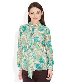 Park Avenue Woman Green Floral Printed Shirt Park Avenue, Everyday Look, Floral Prints, Feminine, Shirt Dress, Woman, Printed, Green, Mens Tops