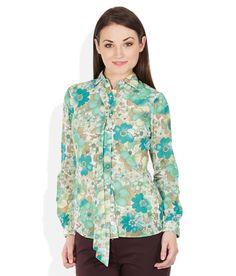 Park Avenue Woman Green Floral Printed Shirt