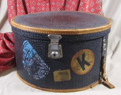 1930s Hat Box  embossed finish  moire interior the ladies kept their hats in these