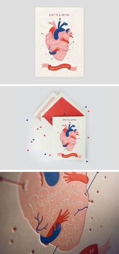 So unconventional! Love this letterpress wedding Invitation from Anya Aleksandrova Dm Poster, Design Poster, Art Design, Posters, Design Ideas, Illustration Arte, Graphic Design Illustration, Wedding Illustration, Letterpress Wedding Invitations