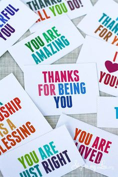 Relief Society - gratitude lesson idea thank-you-kindness-cards: