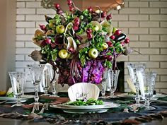 Skip the flowers this fall -- try a vegetable centerpiece stuffed with eggplants, pomegranates, apples, beets, cabbages and more. (http://www.hgtv.com/entertaining/sophisticated-fruit-and-vegetable-centerpiece/index.html)