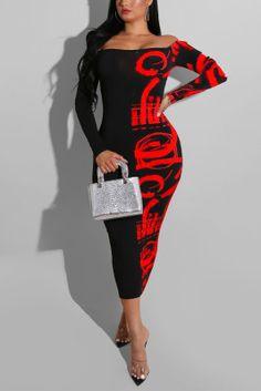 Sexy Fashion Letter Print Red Off Shoulder Dress Hot Dress, Jumpsuit Dress, Bodycon Dress, Denim Fashion, Fashion Outfits, Fashion Site, Skirt Fashion, Sexy Outfits, Fashion Clothes