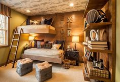 Space saving beds and brilliant lighting revamp the aura of the rustic bedroom 20 Rustic Kids' Bedrooms with Creative, Cozy Elegance