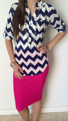 Navy Chevron and hot pink