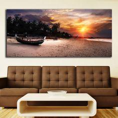 Boat on the beach πανοραμικός πίνακας σε καμβά Flat Screen, Boat, Flat Screen Display, Dinghy, Flatscreen, Boats, Dish Display