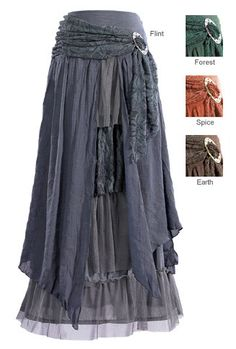 Ostara - Layered Skirt with Brooch