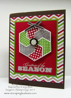 Stamping to Share: 10/2/13 Six Sided Sampler Christmas Card with How To Video.  SU Hexagon Punch & Six-Sided Sampler