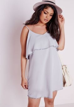 Plus Size Frill Detail Strappy Dress Grey - Missguided+