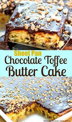 Sheet Pan Chocolate Toffee Butter Cake with Fudge Frosting - American Cheesecake Rezepte Chocolate Toffee, Chocolate Desserts, Fun Desserts, Delicious Desserts, Dessert Recipes, Health Desserts, Chocolate Cheesecake, Recipes Dinner, Dessert Ideas