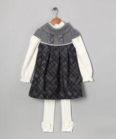 Gray Plaid Dress Set - Toddler & Girls