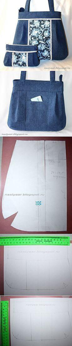 Denim bag and cosmetic bag. Muster Denim bag and cosmetic bag. Patchwork Bags, Quilted Bag, Patchwork Fabric, Denim Patchwork, Patchwork Patterns, Sacs Tote Bags, Denim Ideas, Denim Crafts, Recycle Jeans