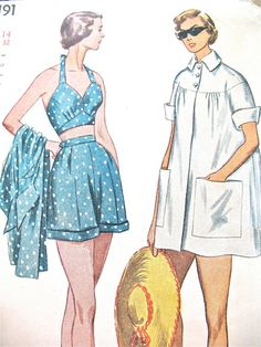 Sale off Uncut Playsuit Bra Top by Simplicity 3191 Vintage Sewing Pattern Bust 30 inches Vintage Dresses 50s, Vintage Outfits, Vintage Fashion, 1940s Fashion, Retro Vintage, Simplicity Sewing Patterns, Vintage Sewing Patterns, Sewing Ideas, Rockabilly Outfits